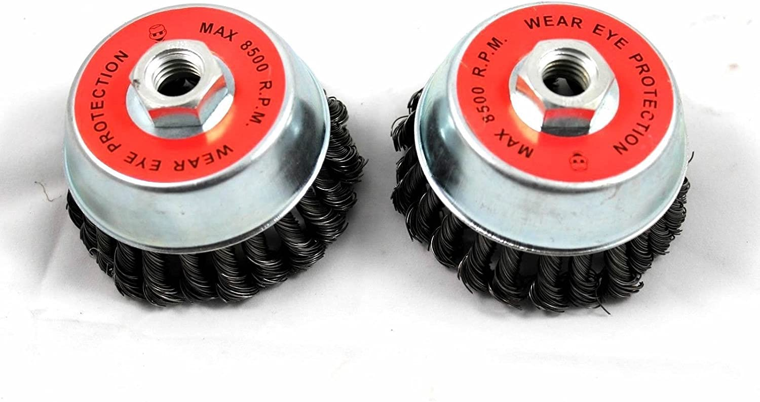 3 inch Cup Knotted wire wheel angle gringer brushes 5-pack