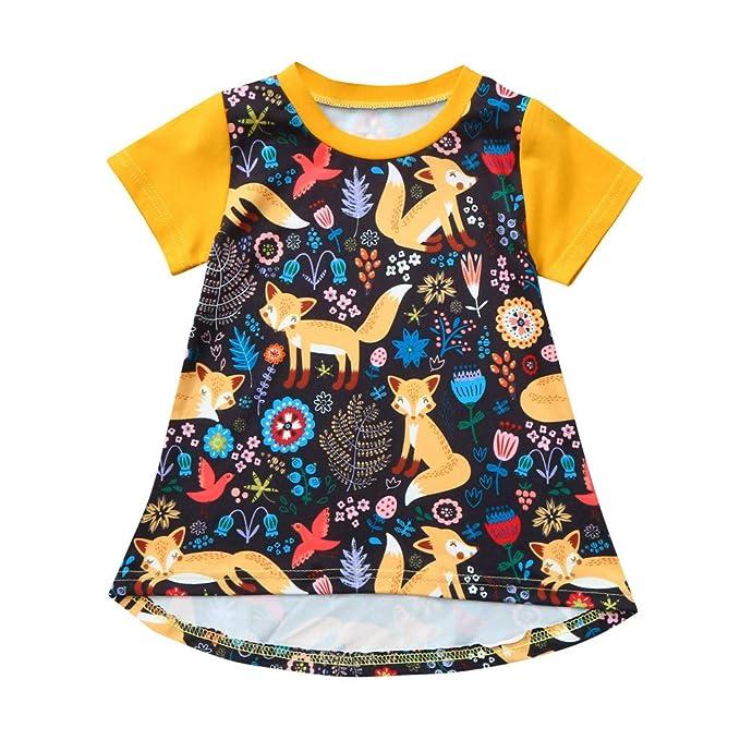 Vestido de Niña, Vestido para Bebés Ropa Princesa Estampado de Zorro Vestido Casual Ropa de Bebe Niña Verano 2018 0-4 años Holatee: Amazon.es: Ropa y ...