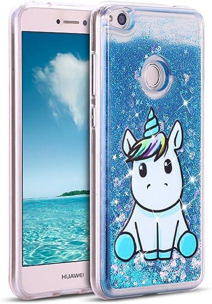 Mosoris Coque Huawei P8 Lite 2017 Glitter Liquide Cover Mode 3D TPU Etui P8 Lite 2017 Licorne Transparent Souple Silicone Housse Bling Paillettes ...