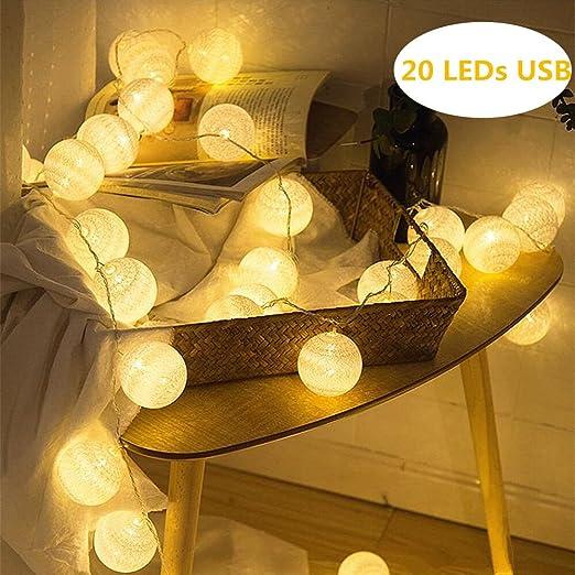 ELINKUME® LED Bolas de algodón luces de hadas, 20 LEDs 4M / 13,12 ...