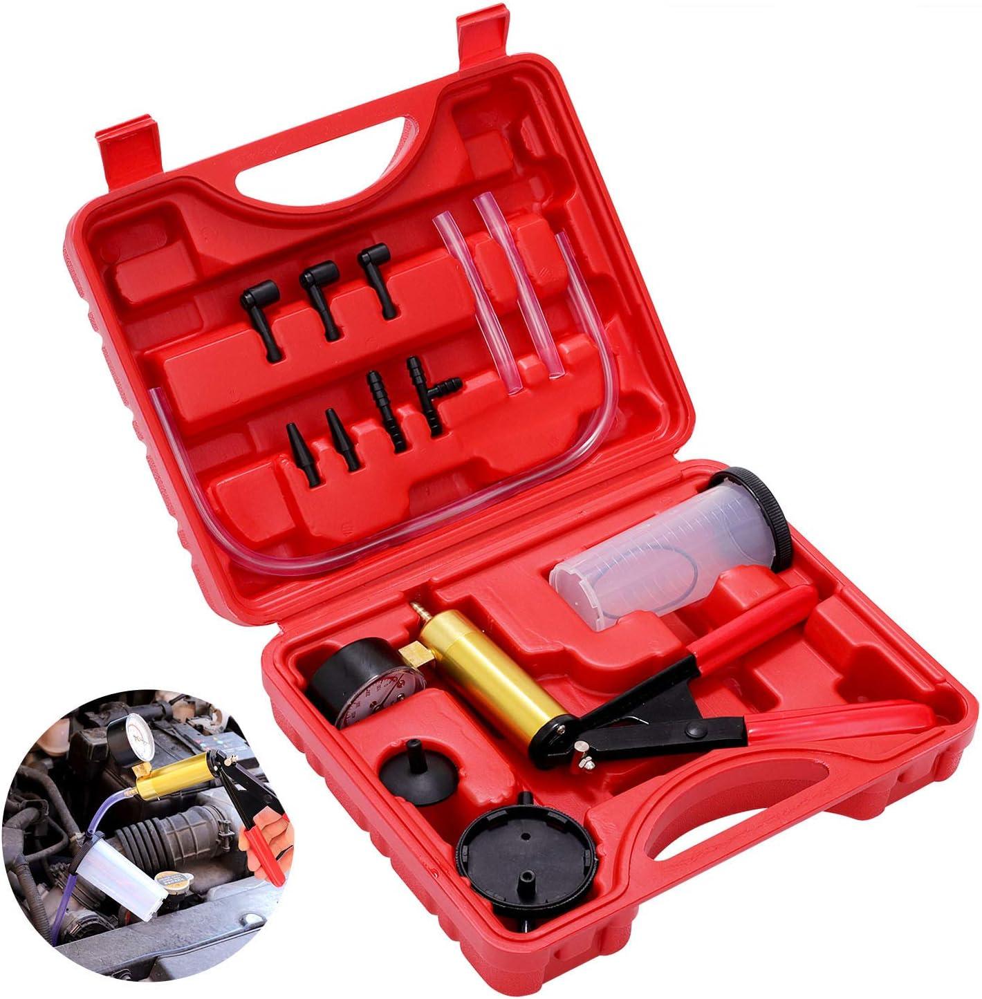 Yonligonju 16PCS Handheld Vacuum Pump Brake Bleeder Kit for Motorcycle Brake System Bleeding Tools with Gauge Adapters Automotive Brake Fluid Bleeding Set for Bike Car Truck
