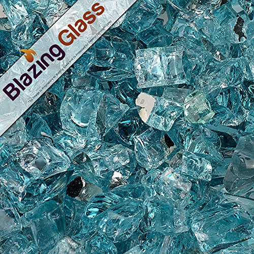 Blazing Fireglass 20-Pound Reflective Fire Glass with Fireplace Glass and Fire Pit Glass, 1/2-Inch, Azuria Blue