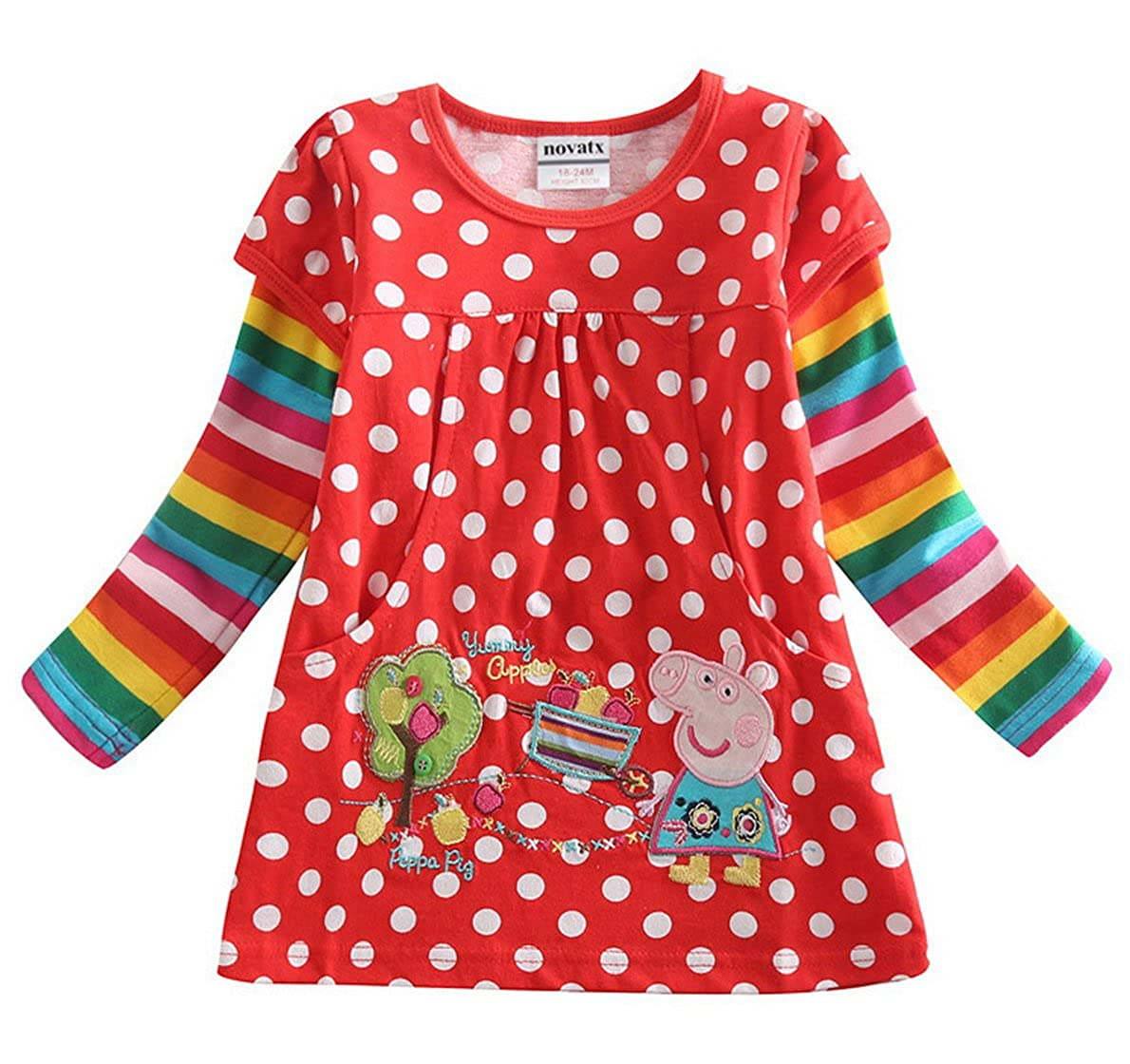 Peppa Pig Little Girls Long Sleeve Embroidery Cotton T-Shirts Tees 1-6Y Tiful