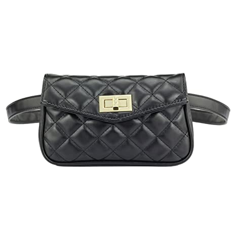b5a6ee4ee Amazon.com   ZORFIN Fashion Quilted Leather Fanny Packs for Women Cute  Wasit Bag with Two Belts   Waist Packs
