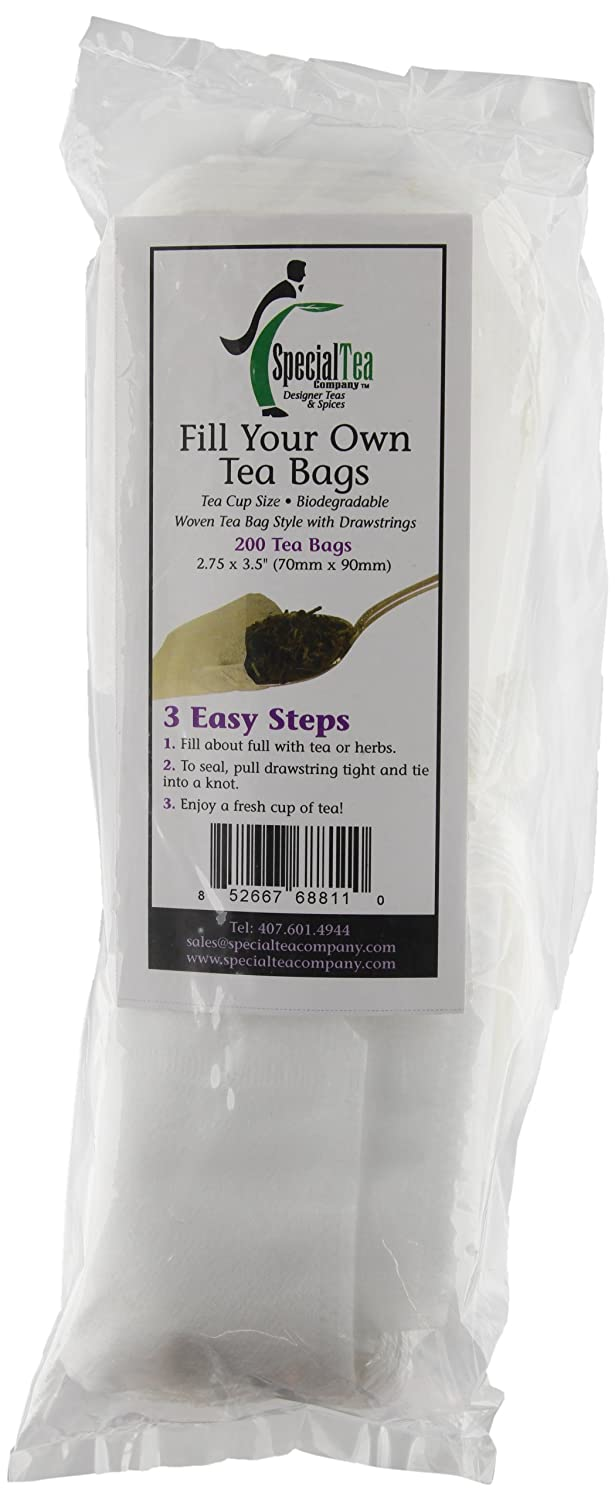Large 852667688110 Special Tea Company 200-Pack 2.75 by 3.5-Inch Woven Draw String Empty Tea Bags
