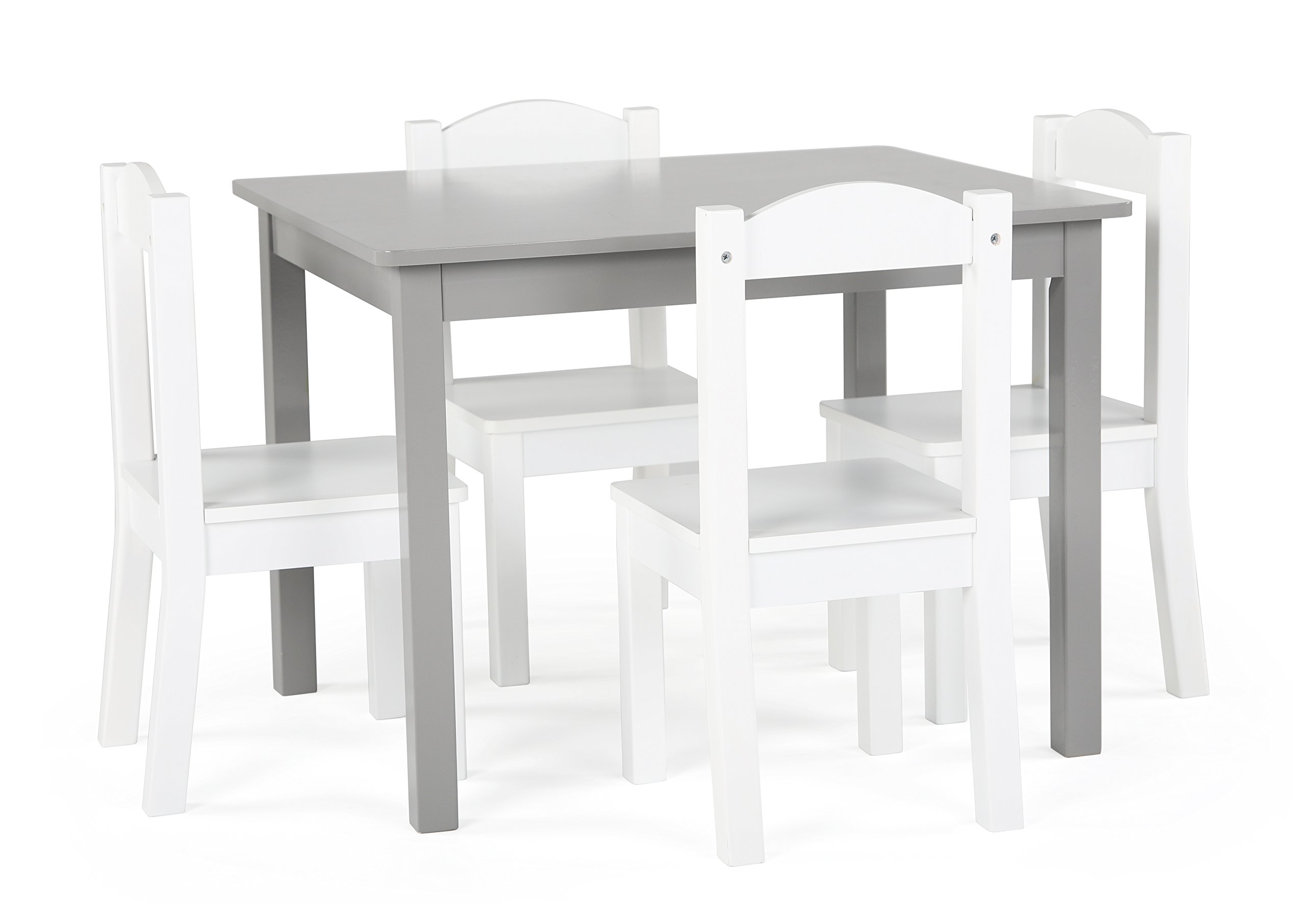 Tot Tutors TC770 Inspire Collection Kids Wood Table & 4 Chair Set, Grey/White