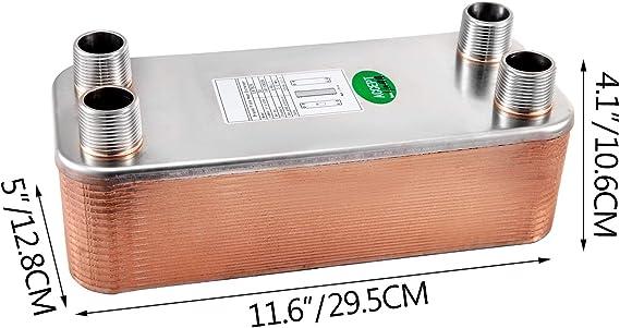 OldFe EATB25 Plattenw/ärmetauscher W/ärmetauscher 10 Plattenw/ärmetauscher Edelstahl 316 l W/ärmetauscher Heizung