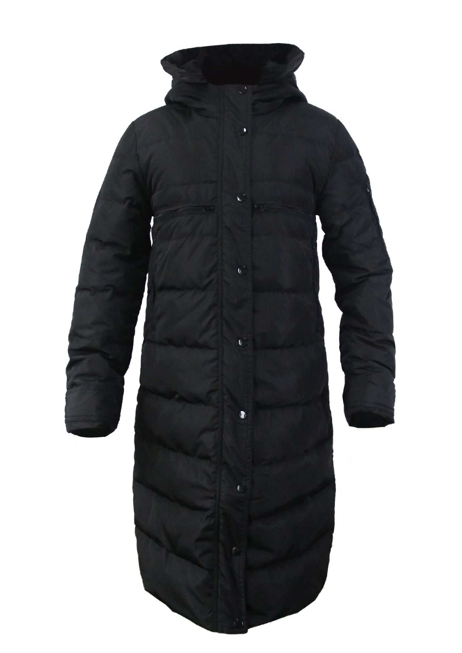 CHERRY CHICK Stock Clearance! Women's Slim Fit Long Down Jacket Coat with Hood (X-Large, Black)