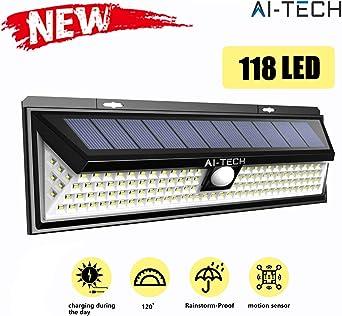 Luz Solar Exterior Aitech Focos Solares Exterior 118 Led Sensor de Movimiento 270° Iluminaciòn 1200Lm 100% Impermeable Luces Solares Led Exterior con 3 Modos de Iluminaciòn Opcionales: Amazon.es: Iluminación