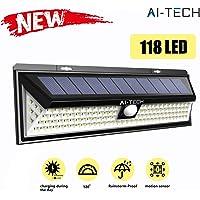 Luz Solar Exterior Aitech Focos Solares Exterior 118 Led Sensor de Movimiento 270° Iluminaciòn 1200Lm 100% Impermeable Luces Solares Led Exterior con 3 Modos de Iluminaciòn Opcionales
