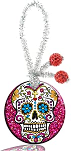 Guojew Custom Crafts Round Porcelain Christmas Decorations Home Hanging Jewelry Gift Souvenir (Sugar Skull)