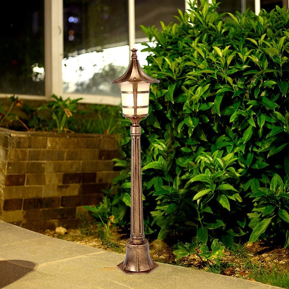 SLRMKK Linterna de césped Europea de Varios tamaños, Accesorio de iluminación para Exteriores, Vidrio de Aluminio, IP65, Impermeable, luz de Patio, Poste Alto, jardín comunitario, farola, Poste a 1.7m