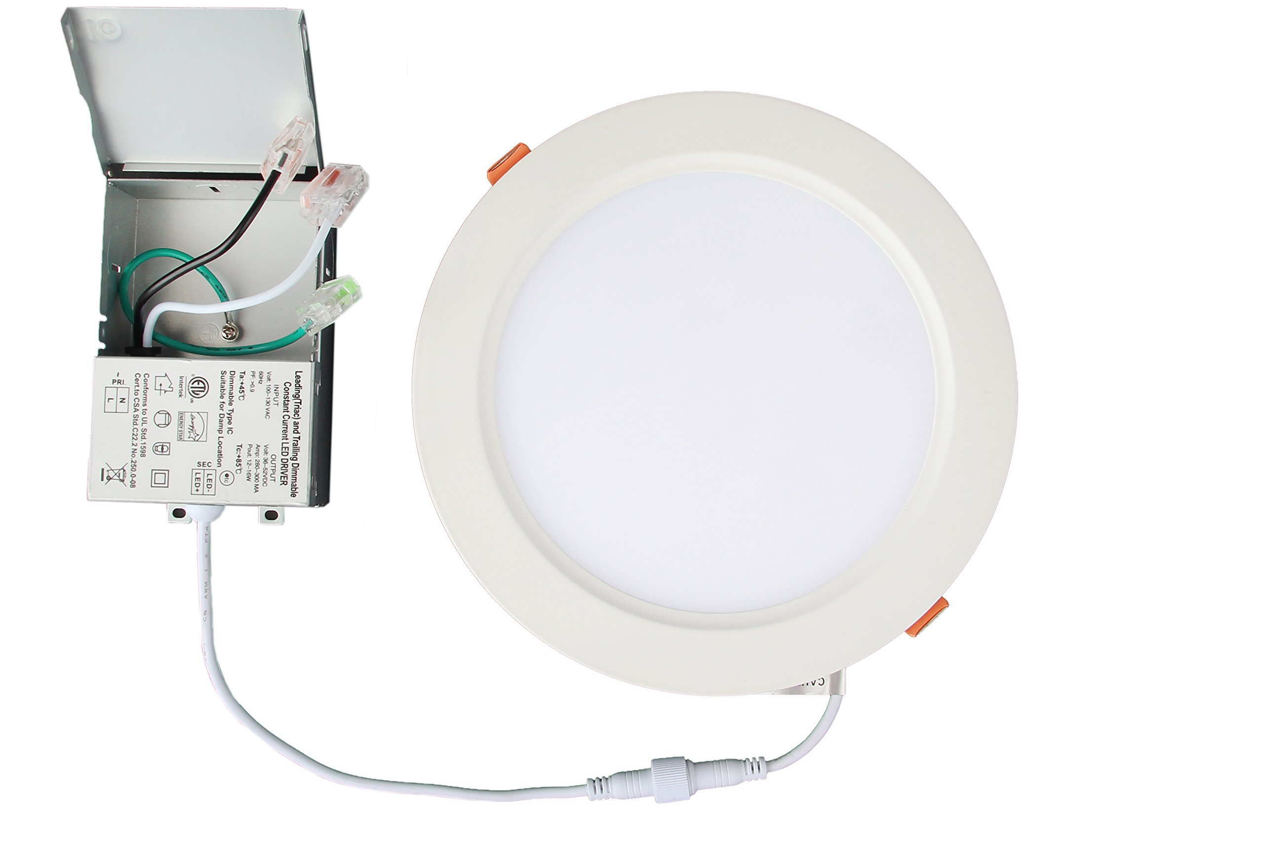 P-tec 6'' Ultra-Thin LED Recessed Downlight, 3000K Warm White, 16 Watt, 1200 Lumens, 90+ CRI, IC-Rated & Wet-Rated