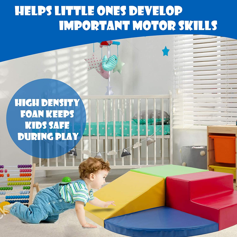 Polar Aurora 4PCS Climb and Crawl Activity Play Set Soft Foam Toddler Stairs and Ramp Climber Gym Toy Indoors