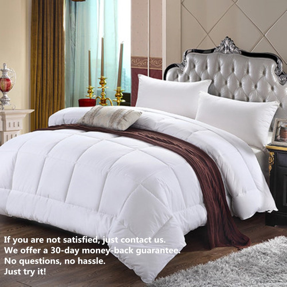 White Down Alternative Comforter – Queen Size Microfiber Duvet Insert, Hypoallergenic, Reversible Quilted, All-season use , for Hotel and Home, with Corner Tabs.