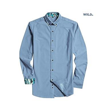 Camisa de Pana Azul súper Suave para Hombre, Manga Larga, con ...