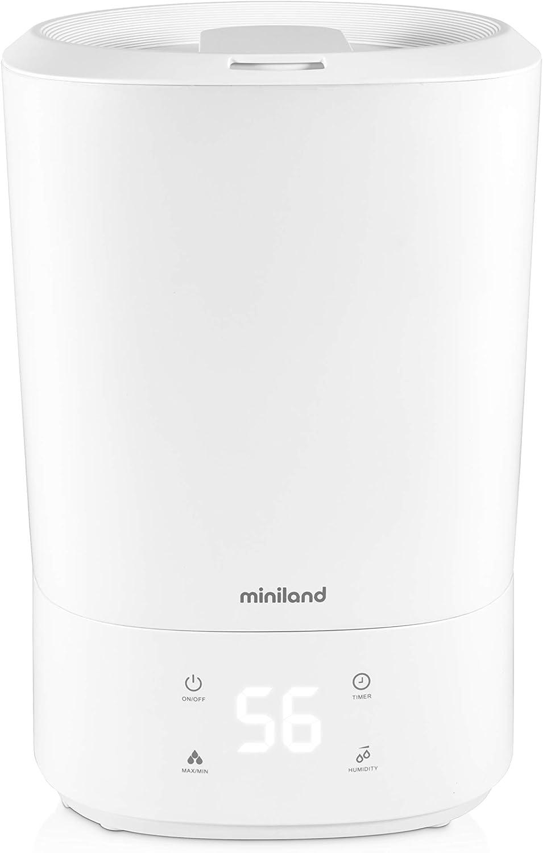 Miniland - Humitop Connect - Humidificador Ultrasónico de Llenado Superior com Gran Autonomía (35H), Luz de com Pañía, Aromaterapia y Control de Funciones Desde El Móvil O PC