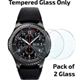 POPIO Tempered Glass Screen Protector For Samsung Gear S3 Frontier Smart Watch (Pack of 2) Edge to Edge Full Screen Coverage (Transparent)