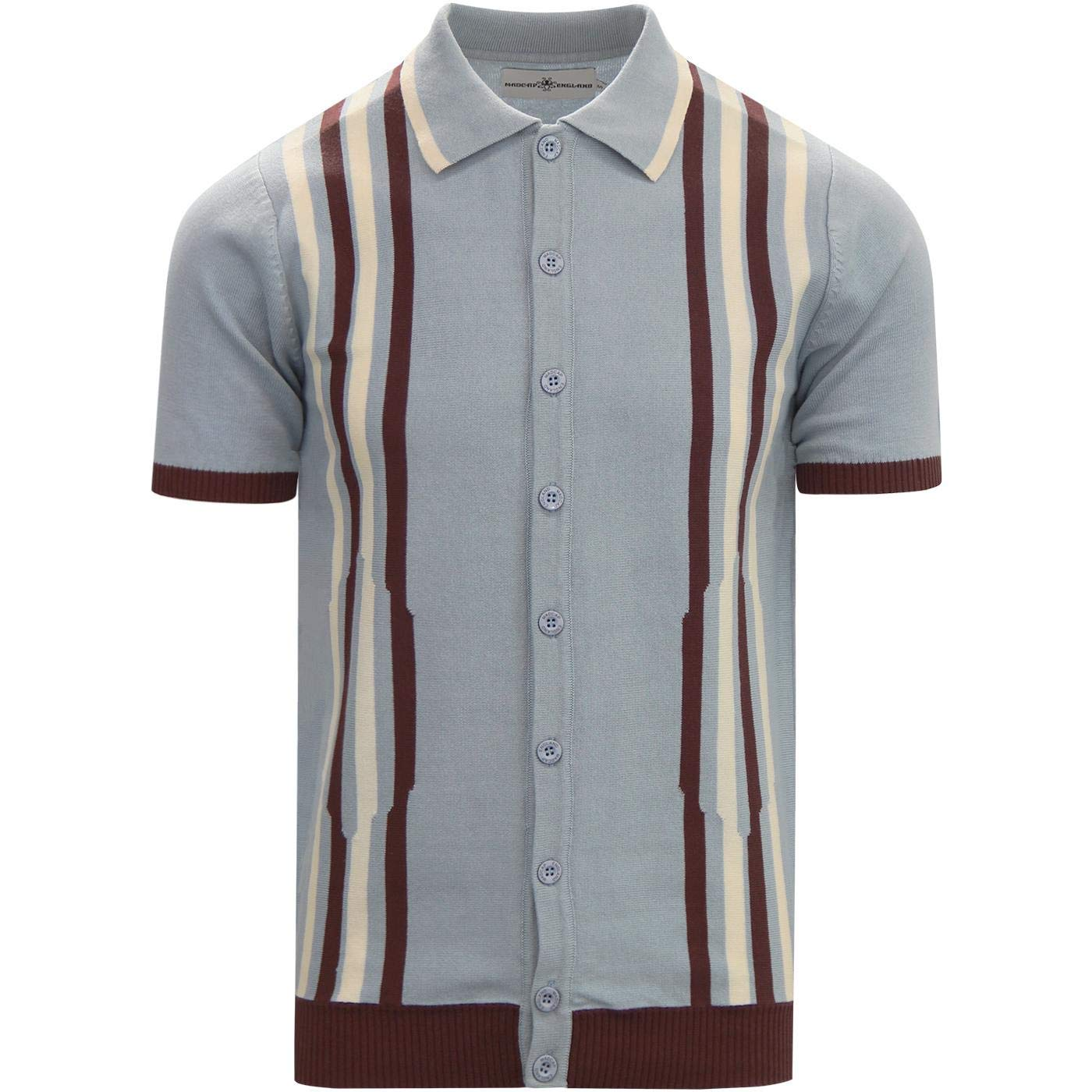 1960s – 70s Mens Shirts- Disco Shirts, Hippie Shirts Madcap England Shockwave Mens Retro Mod 60s 70s Short Sleeve Knitted Polo Cardigan £34.99 AT vintagedancer.com