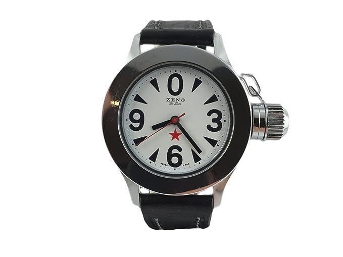 Reloj Suiza Zeno, estilo antiguo soviético, pulsera cuero negro: Amazon.es: Relojes