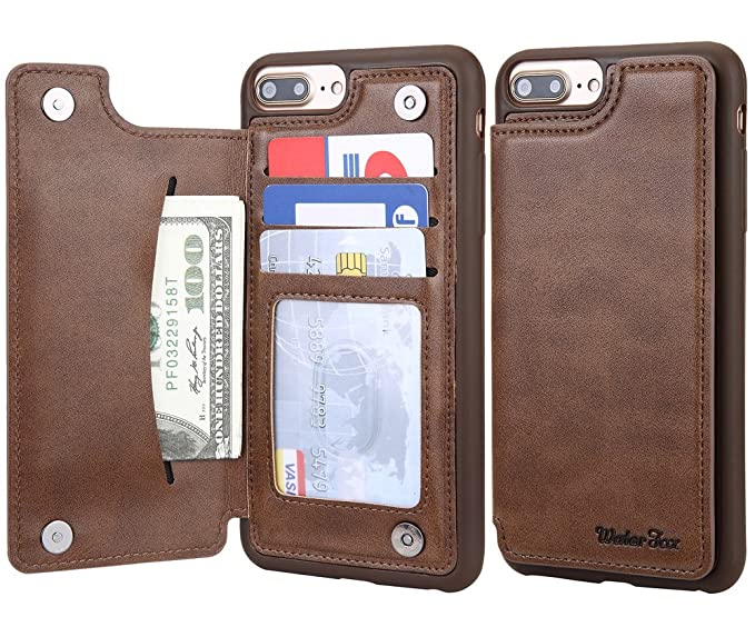 new style 01744 68b65 iPhone 8 Plus/iPhone 7 Plus Wallet Leather Case for Men, 3 Card Holder/ID  Slots, Protective Cover for iPhone 6s Plus - Brown