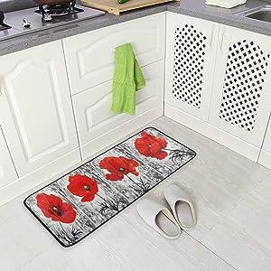 AGONA Anti Fatigue Kitchen Mat Oil Painting Vintage Red Poppy Kitchen Floor Mat Soft Standing Mats Non Slip Kitchen Rugs Bath Rug Runner Carpet for Home Decor Indoor Outdoor
