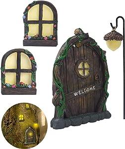 ZZICEN Fairy Door and Window for Tree Decor Fairy Garden Decoration Glow in The Dark Yard Art Outdoor Resin Pendant Sculpture for Kids