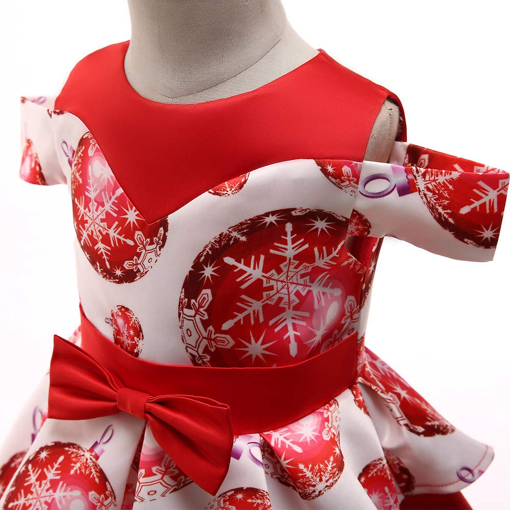 OCEAN-STORE Toddler Kids Baby Girls 18 Months-7T Snowflake Print Princess Dress Christmas Outfits Clothes