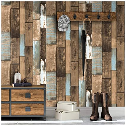 Haokhome 373802 Distressed Faux Wood Plank Wallpaper Panels Brown Aqua Blue For Home Kitchen Accent Wall Decor 20 8 X 33ft
