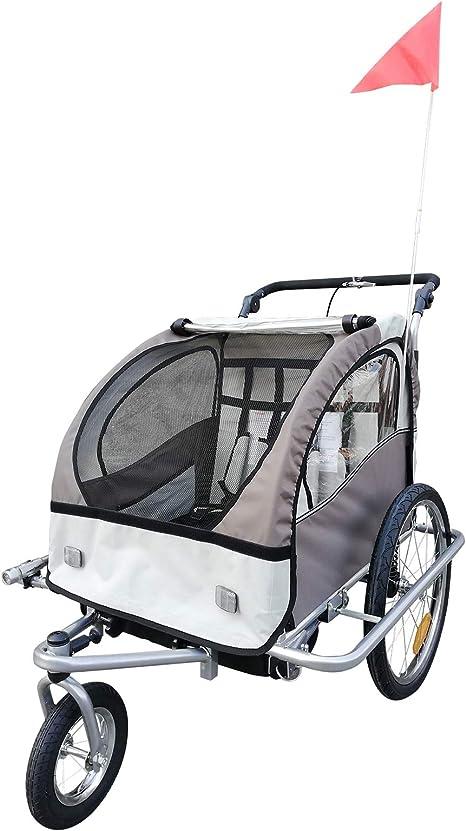 HOMCOM Remolque Infantil para Bicicleta 2 PLAZAS Rueda Giratoria 360° Amortiguadores BARRA INCLUIDA Kit Footing BEIGE: Amazon.es: Bebé
