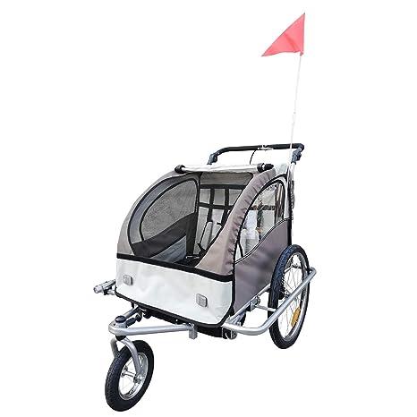 Remolque Infantil para Bicicleta 2 PLAZAS Rueda Giratoria 360° Amortiguadores Barra INCLUIDA Kit Footing Beige