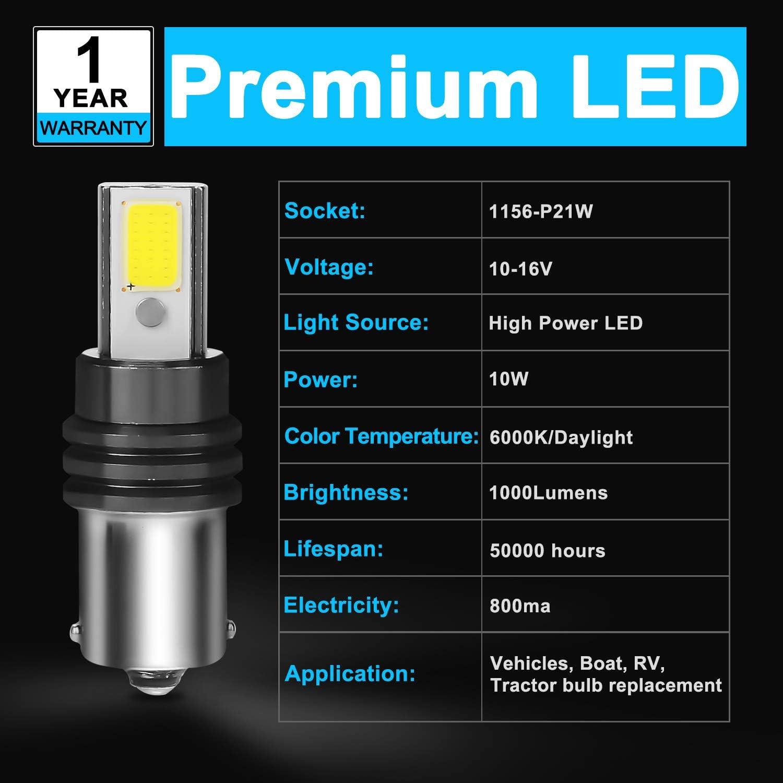 1156 LED Bulb High Power White Super Bright 800Lumens 1141 1003 7506 BA15S Auto RV Tractor Light Bulbs Replacement 6000K 12V