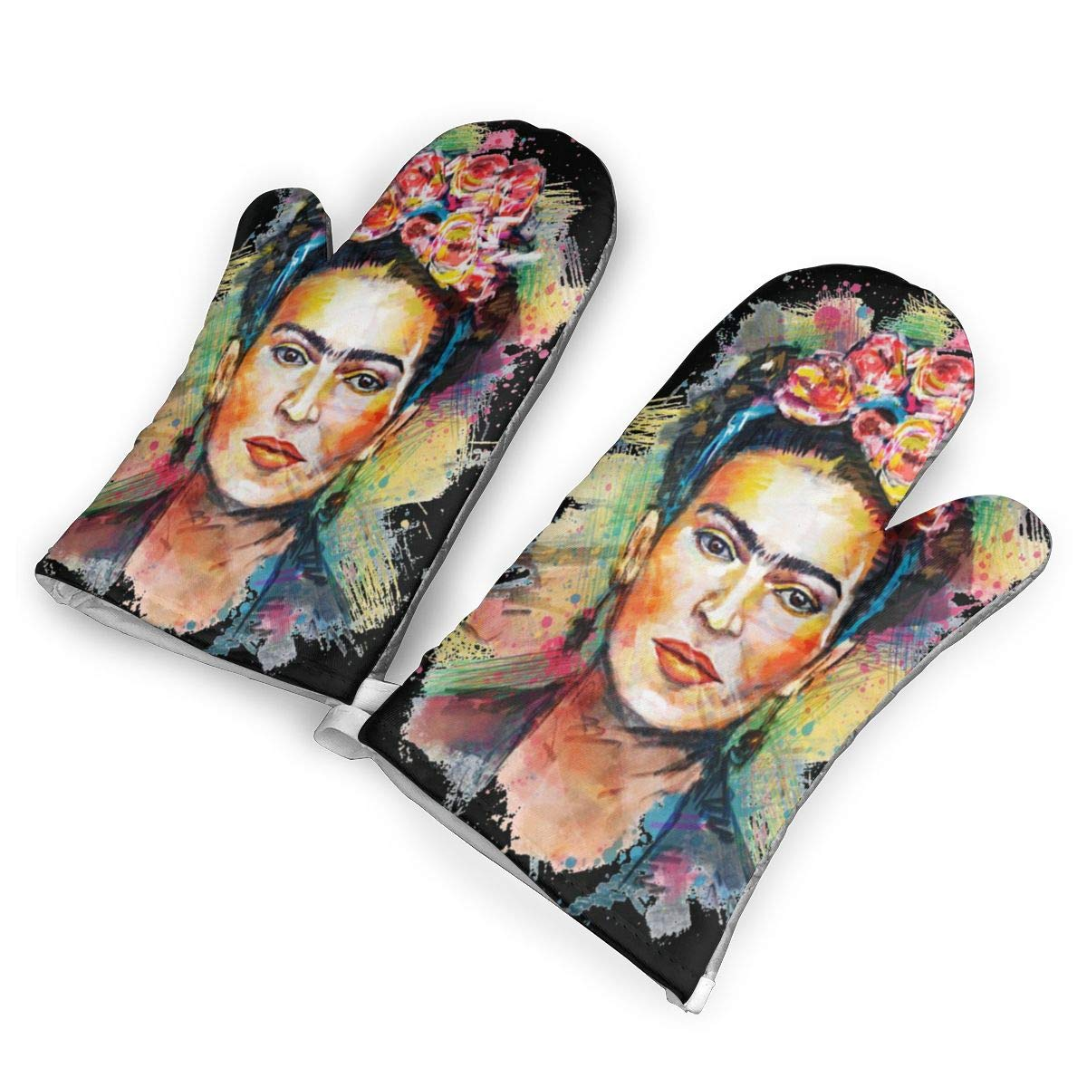 not Frida Kahlo En Pintura Oven Mitts with Polyester Fabric Printed Pattern,1 Pair of Heat Resistant Oven Gloves for Cooking,Baking,Grilling,Barbecue Potholders