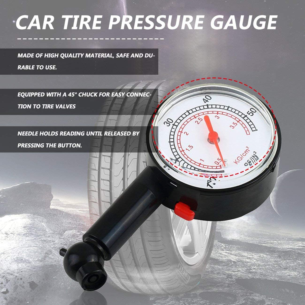 Black JIUY Car Vehicle Motorcycle Bicycle Dial Tire Gauge Meter Pressure Truck Motorcycle Bicycle Tyre Measurement Tool