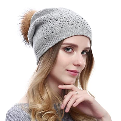 Winter Stretchy Beanie With Natural Fur Pom-pom Oversized Wool Hat  Rhinestone Caps  Amazon.ca  Clothing   Accessories 6fc782387b8