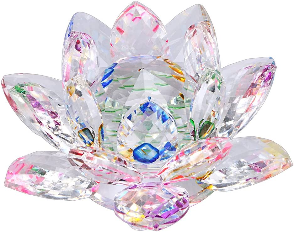 OwnMy Sparkle Crystal Lotus Flower Hue Reflection Feng Shui Home Decor with Gift Box (3 Inch/ 80MM)