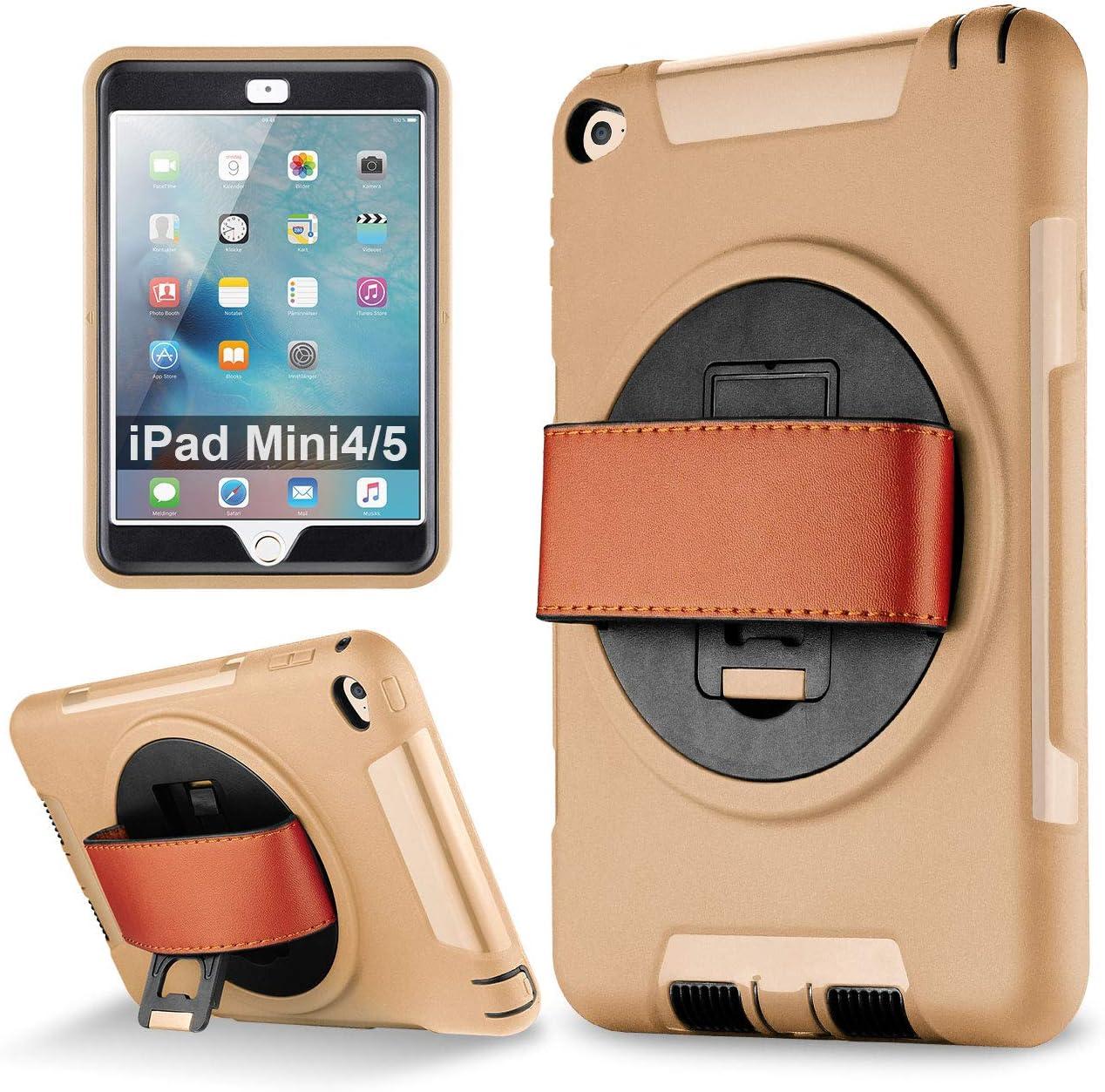 iPad Mini 5, iPad Mini 4 case, eSamcore Shockproof 360 Degree Rotating Leather Handle Grip and Kickstand Case with Built in HD Screen Protector for Apple iPad Mini 4 and iPad Mini 5 [Gold]