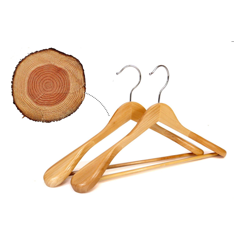 logei/® 5x Cintres en Bois Cintres d/'Armoire Naturel Anti-d/érapant de haute qualit/é pour costume