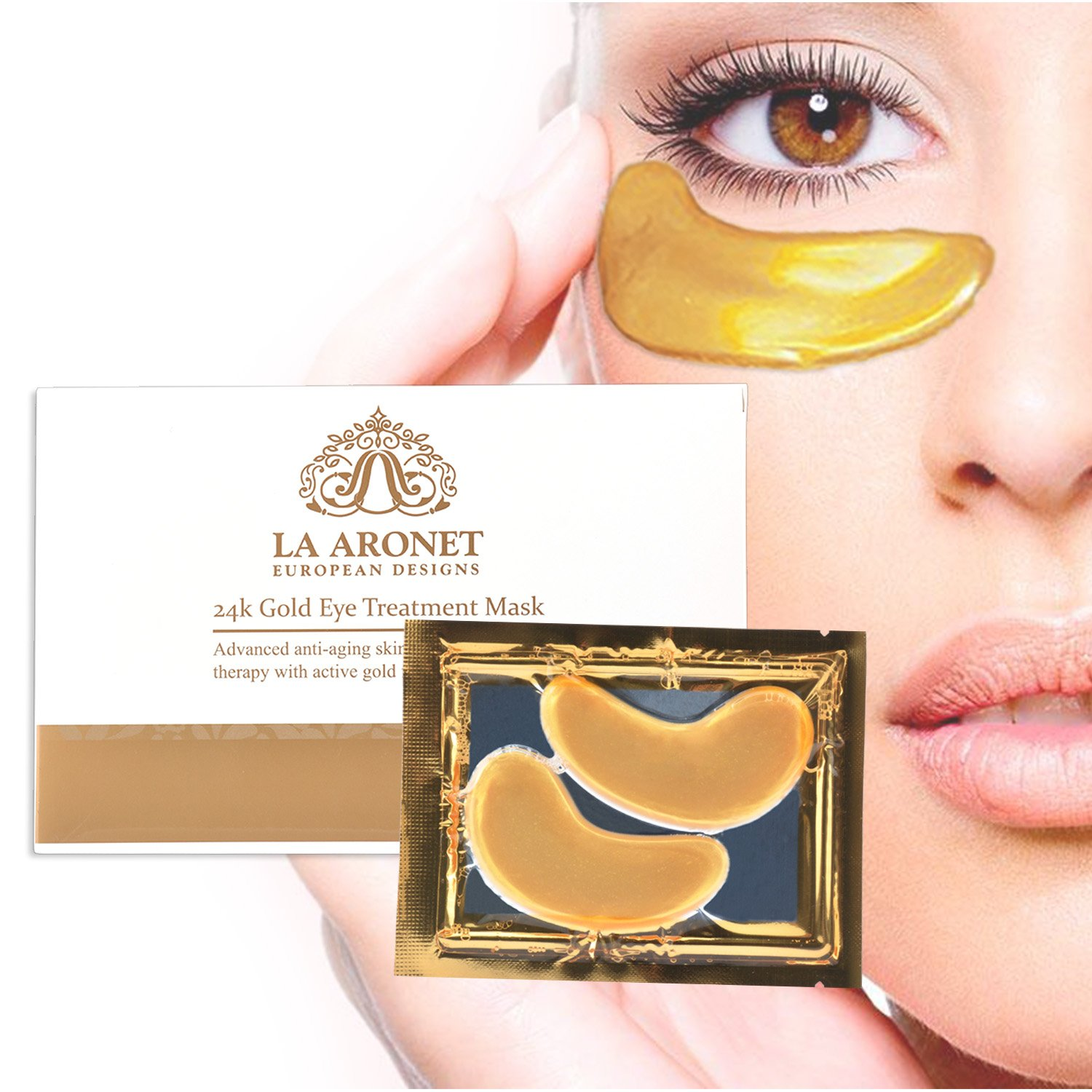 LA ARONET 24K Gold Eye Treatment Masks - (Pack of 20 Pairs) with Anti-Aging Wrinkle Reduction Collagen and Nutrients to Reduce Dark Circles, Bags, and Eye Puffiness, 5 EXTRA BONUS PAIRS included by LA ARONET (Image #1)
