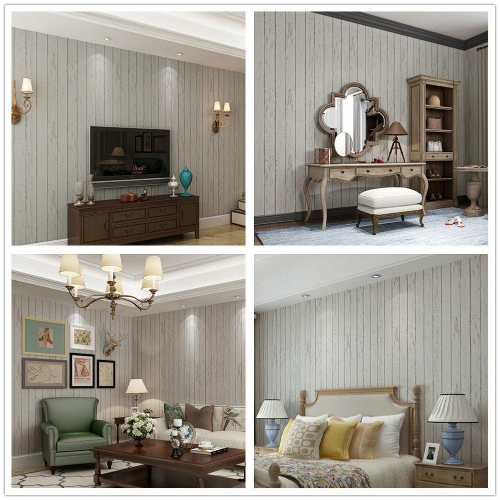 Papel Pintado Imitación Madera Pared Rayas Mural Para Dormitorio Sala de Estar 0.53 * 10m (Papel pintado imitación madera)