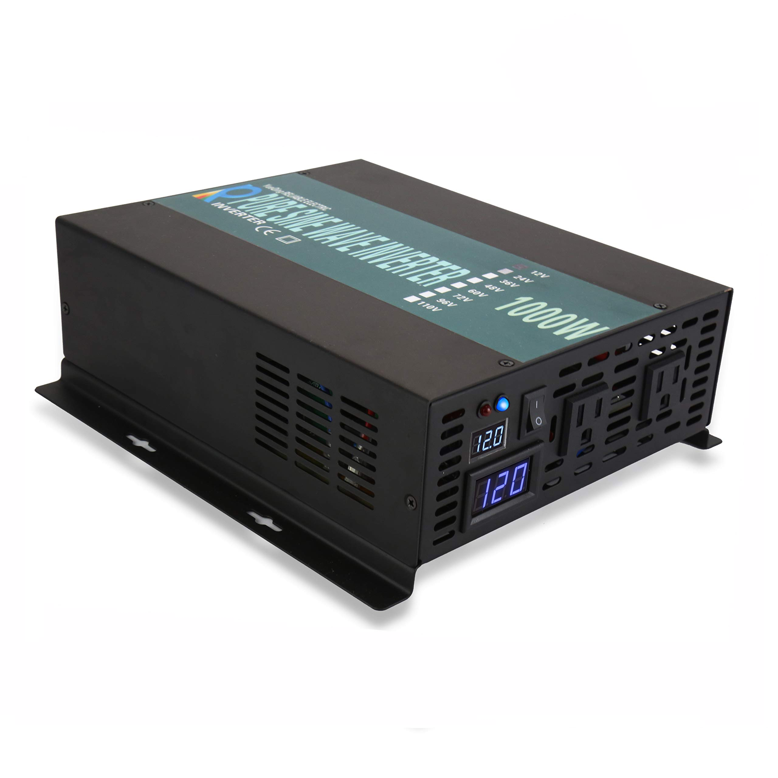 WZRELB 1000W Pure Sine Wave Car Power Inverter 12V DC to 120V AC with 2 AC Outlets, 2 Battery Cables, LED Display, Off Grid, RV, Back Up Power, DC to AC Power Converter (Surge 2000W)