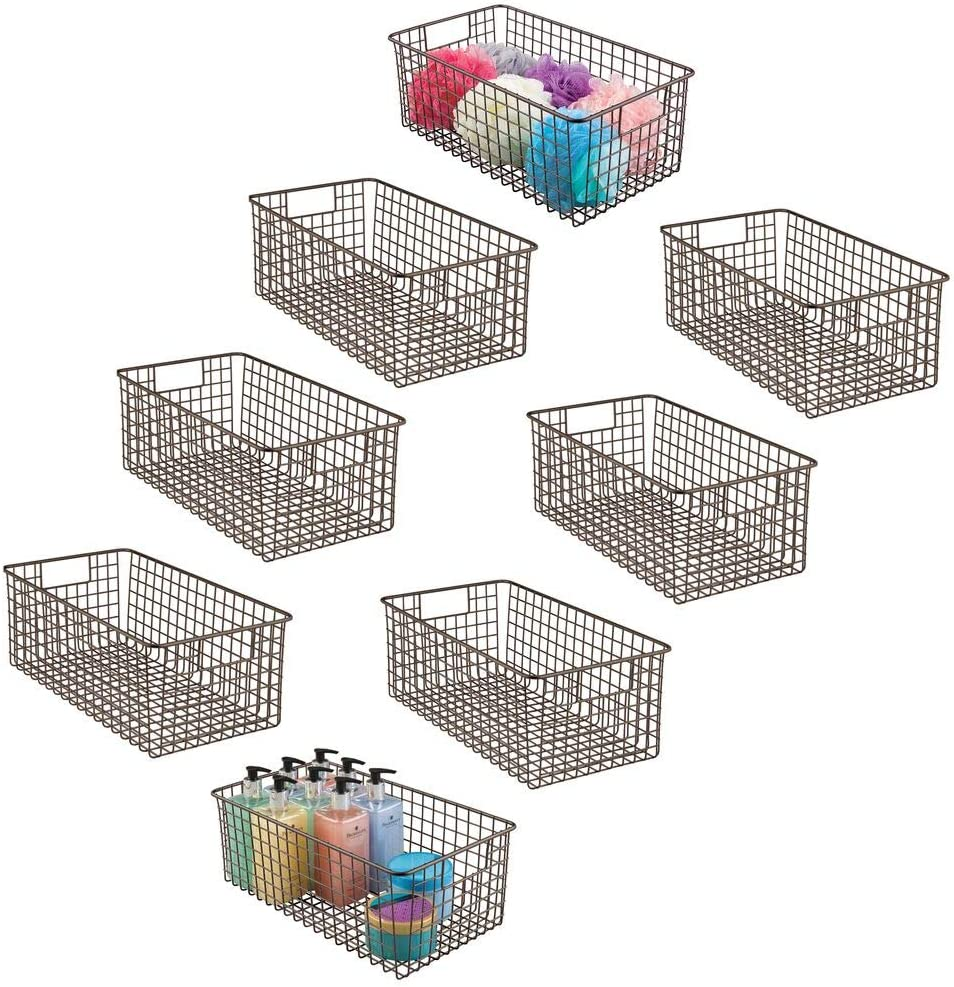 mDesign Farmhouse Decor Metal Wire Bathroom Organizer Storage Bin Basket - for Cabinets, Shelves, Countertops, Bedroom, Kitchen, Laundry Room, Closet, Garage - 8 Pack - Bronze