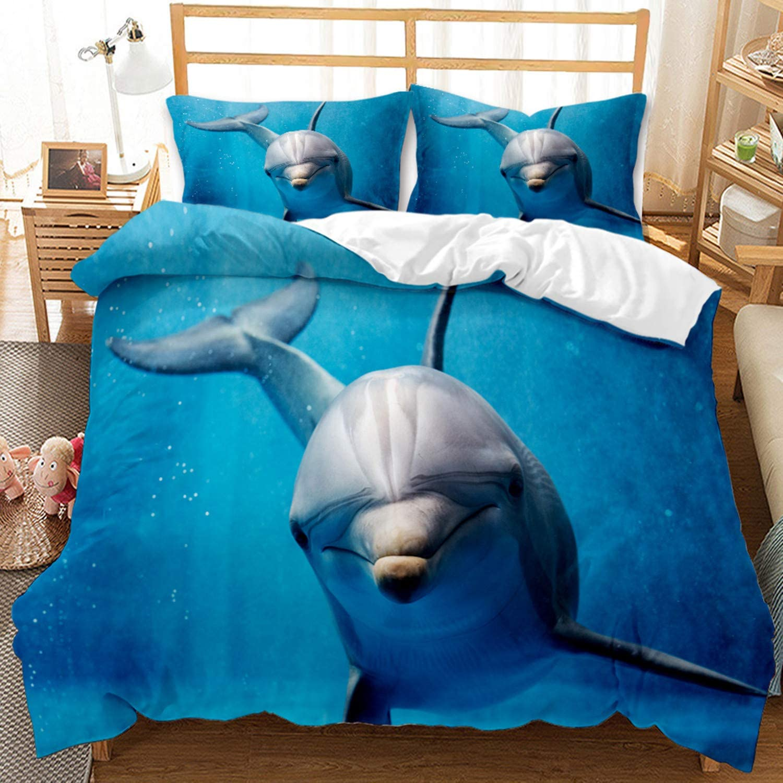Lovely 3D Printed Dolphin Bedding Sets Twin Size Blue Deep Sea World Duvet Cover Marine Life 1 Duvet Cover + 1 Pillow Sham