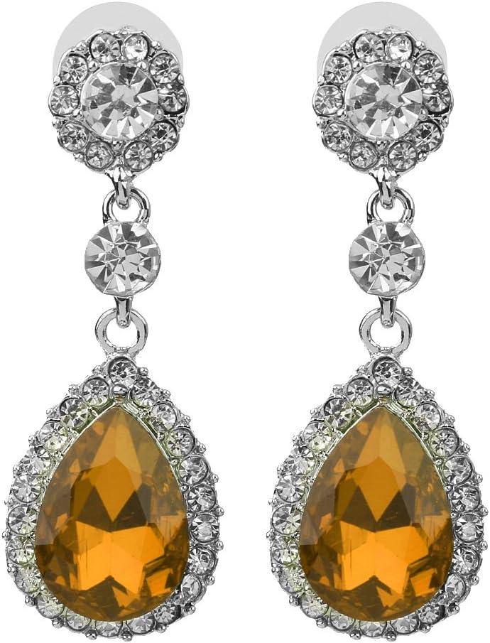 yotijar Pendiente de Cristal Colgante de Lágrima de Diamante de Mujer para Fiesta de Boda - Champagne
