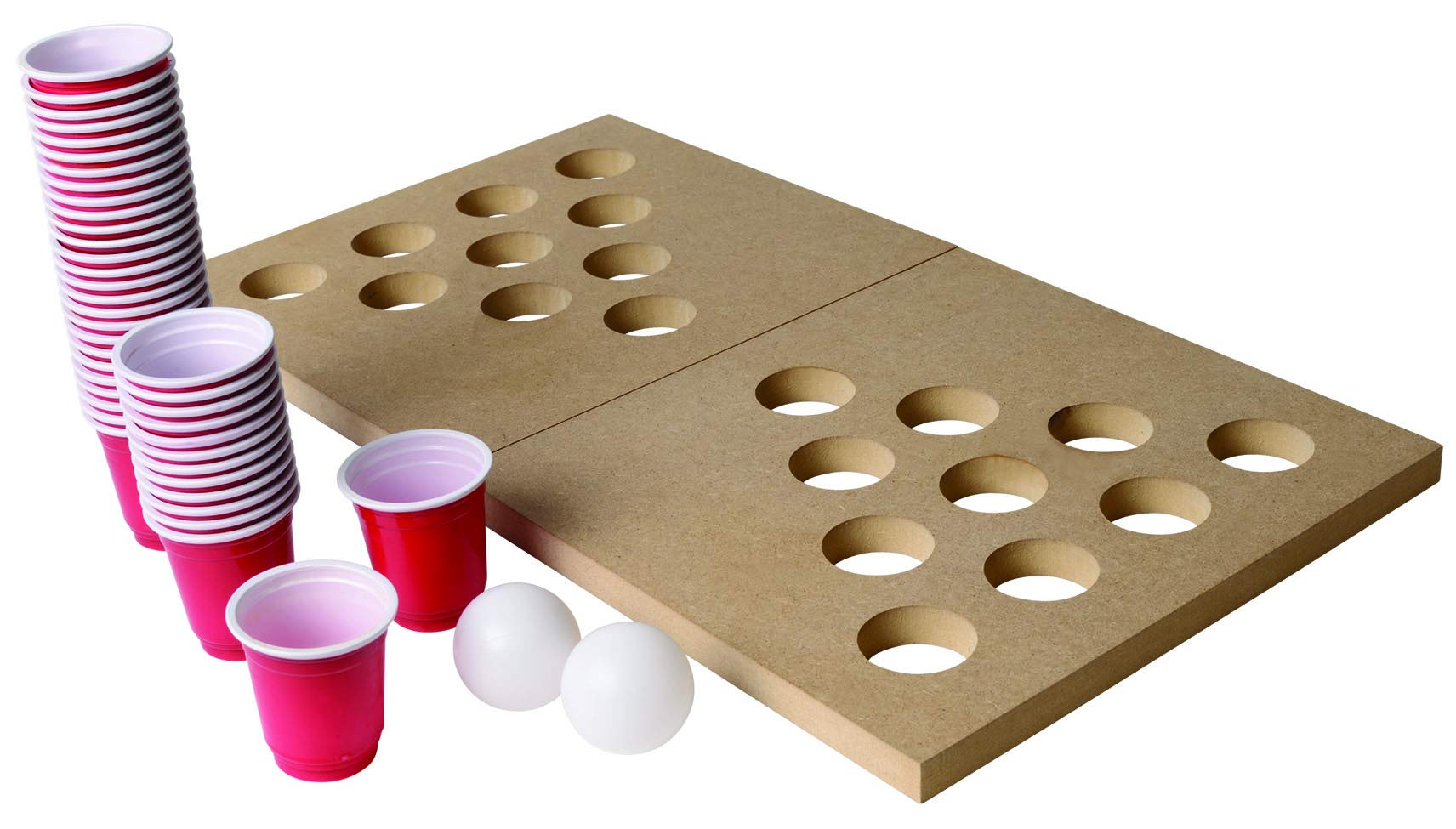 Ideas In Life Mini Wooden Beer Pong or Shot Pong Set - Foldable Portable Travel Board Classic Juice Party Drinking Game Complete Set by Ideas In Life