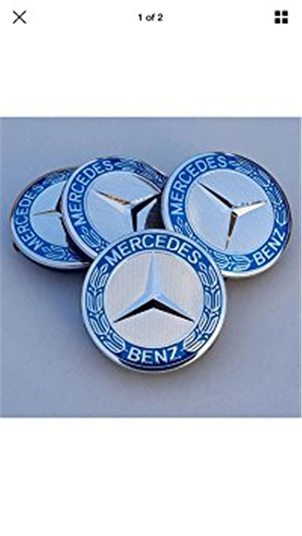 Conjunto de 4 tapacubos eMarkooz de cromo plateado y azul para llantas de aleación, ideales para ruedas de Mercedes Benz (75 mm): Amazon.es: Coche y moto