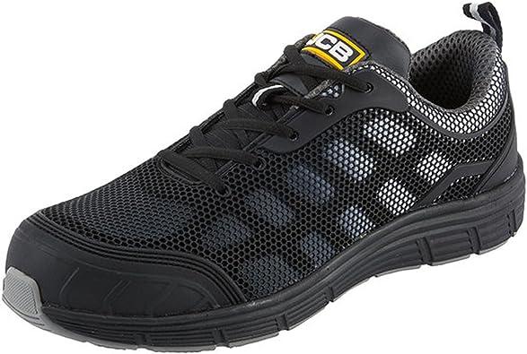 JCB Boy/'s Plain Black with JCB Logo Easy Strap Over School Shoes