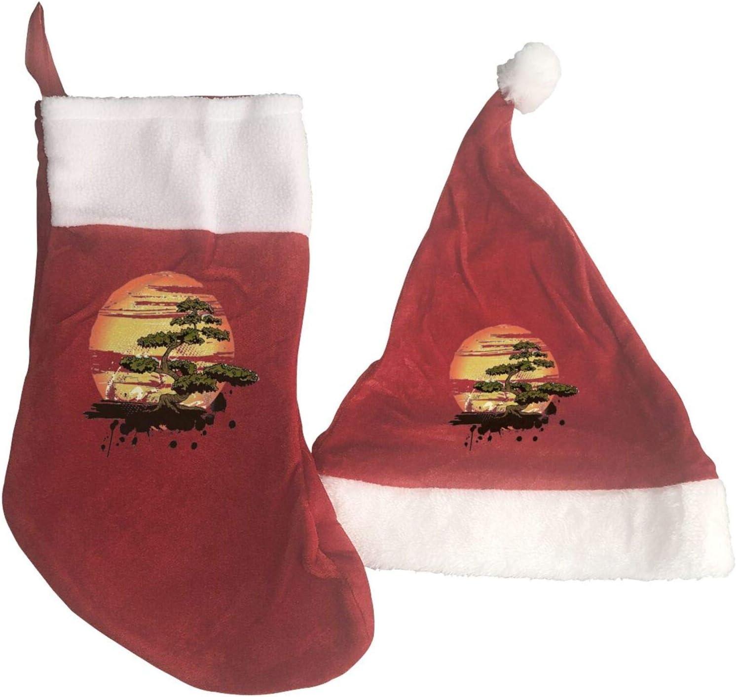 MXDISIWD Navidad Decoraciones Conjuntos 2 Unids Bonsái Árbol Karate Dojo Navidad Sombreros y Medias de Navidad