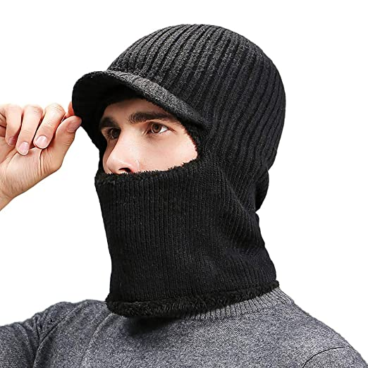 404509074d5 Men Knitted Hat with Scarf Cap Windproof Ski Face Mask Winter Balaclava  Hood Winter Warm Wind-Proof Hat Black at Amazon Men s Clothing store