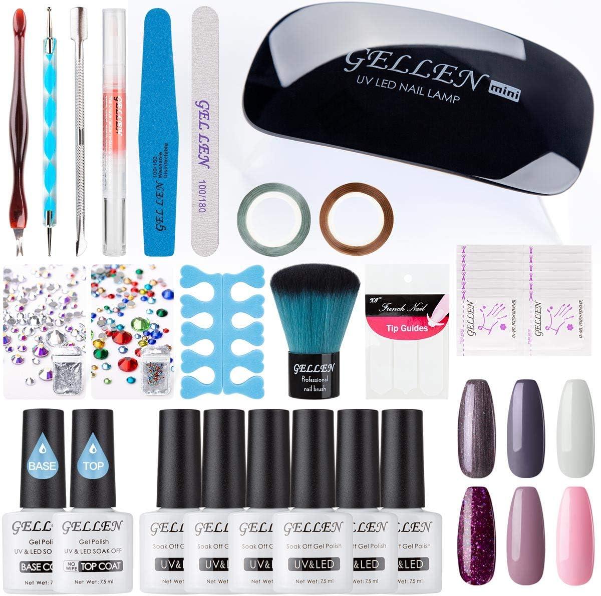 Gellen Gel Polish Starter Kit - with Top Coat Base Coat Nail Dryer Light 6 Colors Nail Art Design Tools, Portable DIY Home Gel Manicure, PurplePink Brown